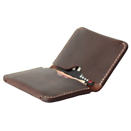 MEKU Men's Handmade Slim Leather Wallet Credit Card Holder Slim Wallet Dark Brown Father Day Gifts