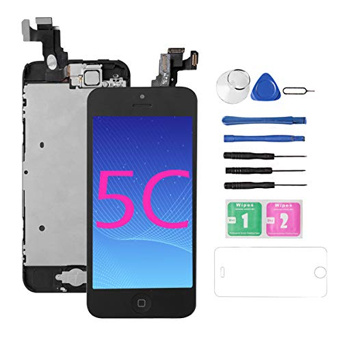 Screen Replacement Repair Kit for iPhone 5C [Black], Drscreen Full Assembly LCD Display Touch Digitizer with Front Camera/Home Button/Proximity/Sensor Earpiece, for A1532 A1456 A1507 A1529 A1526 (Screen 5c Replacement Digitizer)