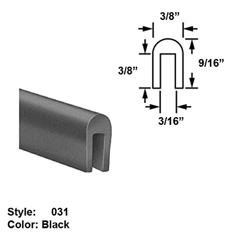 Neoprene Rubber U-Channel Push-On Trim, Style 031 - Ht. 9/16'' x Wd. 3/8'' - Black - 25 ft long by Gordon Glass Co.