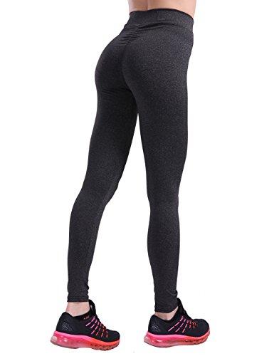 CHRLEISURE Women High Waisted Workout V Shape Waist Leggings Sports Pants CharcoalBlack,Large - Scrunch Leggings