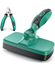 Ruff 'N Ruffus Self-Cleaning Slicker Brush   Upgraded PAIN-FREE Bristles Gently Removes Loose Undercoat, Mats & Tangled Hair   For Cats & Dogs With All Hair Types + FREE Pet Nail Clippers