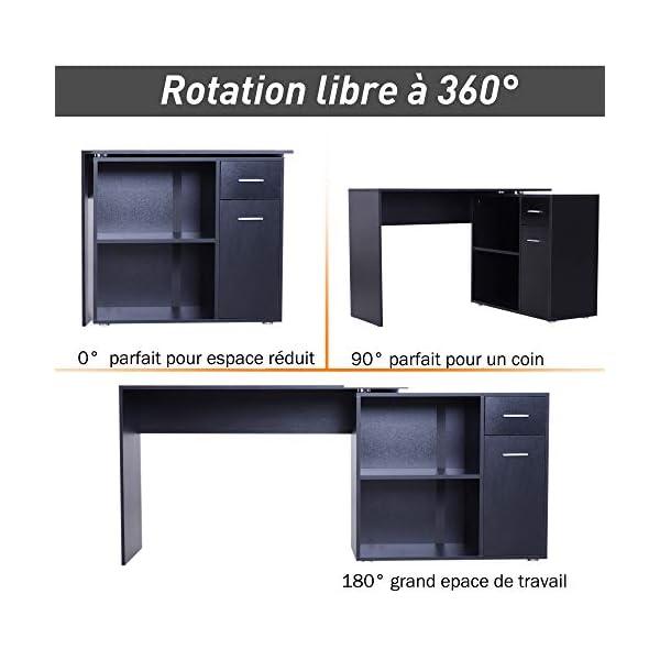 HOMCOM Bureau Informatique multimédia modulable Multi-rangements Double Niche + tiroir Panneaux Particules Noir