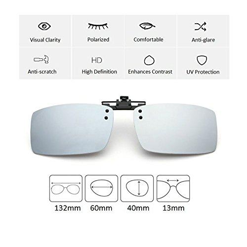 Cyxus Flash polarisée Miroir Rectangle Lentilles Lunettes de soleil Clip–Lunettes de protection UV Lunettes [Anti-Glare lunettes] [] Conduite/pêche, hommes et femmes argent