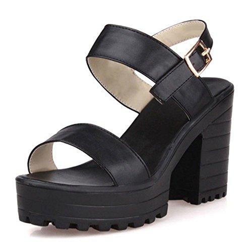 LongFengMa Women Casual Platform High Heel Sandals Block Heels Black