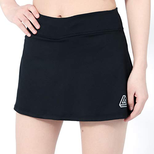 DOMICARE Women Pleated Active Athletic Skorts with Pockets, Lightweight Tennis Golf Skirts for Running Workout, XXL, Black