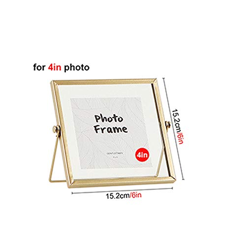 Gold Metal and Glass Photo Frame Folding Wire Desktop Picture Brass Frames for Portraits and Landscape,4 inch