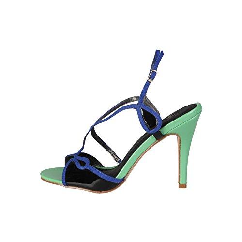 V 1969 - JADE_VERDE-NERO Donna Sandali Della Caviglia Cinghia Tacco 10 cm