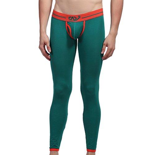 ZIHAN Men's Breathable Cotton Solid Slim Legging Pants Medium Green