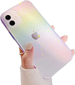 Ownest Compatible with iPhone 11 Case,Colorful Clear Rainbow Glitter Bling Shiny Design TPU and PC Protective Case for Women Girls for iPhone 11-Purple