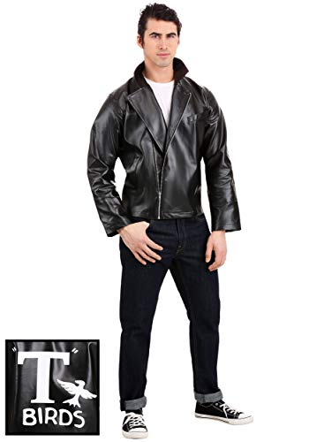 Men's Grease T-Birds Jacket Costume Grease Faux Leather Jacket Costume Small Black ()
