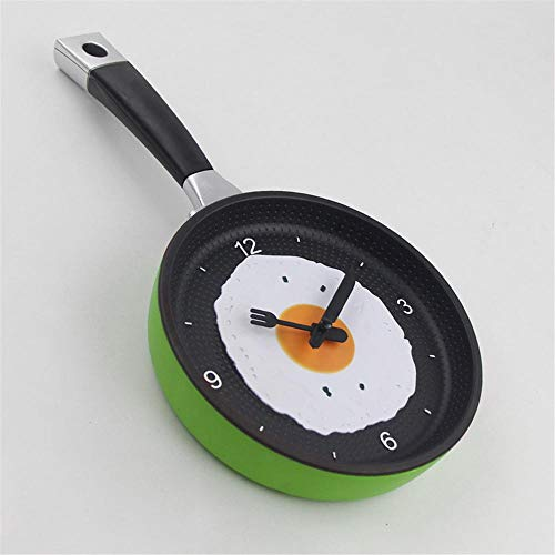 FortuneVin High-End Creative Wall Clock, Music Pot Clock, Fried Egg Clock Green (Green Big Los Egg Angeles)