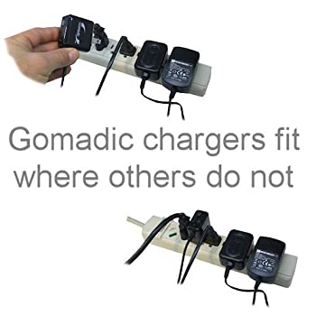 Gomadic Intelligent Compact AC Home Wall Charger suitable for the Garmin nuvi 52 / nuvi 54 - High output power with a convenient, foldable plug design - Uses TipExchange Technology