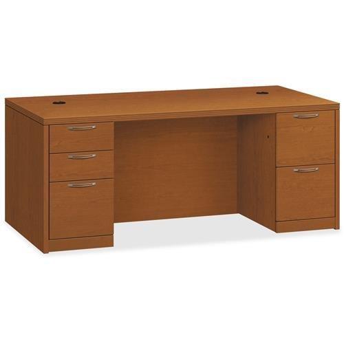 Pedestal Bourbon Cherry Desks - HON Double Pedestal Desk, 72 by 36 by 29-1/2-Inch, Bourbon Cherry