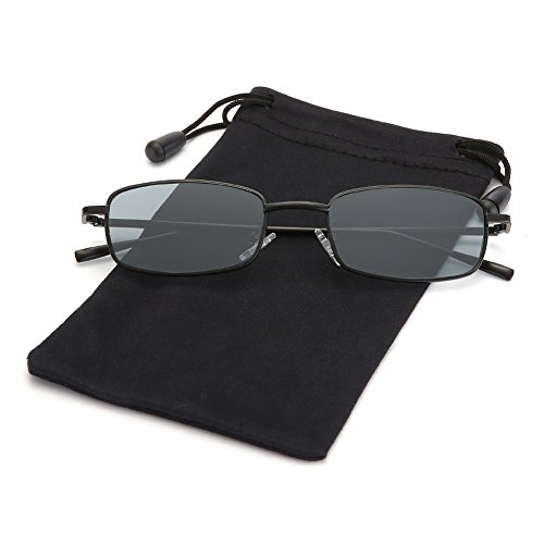 Retro Small Square Sunglasses John Lennon Shades for Women and Men by LOOKEYE, 100% UV Protection, Black Frame and Gray Lens