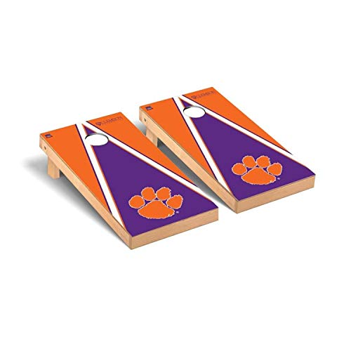 Victory Tailgate Regulation Collegiate NCAA Triangle Series Cornhole Board Set - 2 Boards, 8 Bags - Clemson Tigers Clemson Tigers Tailgate Toss