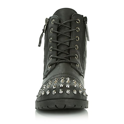 DailyShoes Women's Military Lace up Buckle Combat Boots Ankle High Exclusive Credit Card Pocket Frontal Metal Stud Hiking Booties, Black PU, 11 B(M) US by DailyShoes (Image #7)