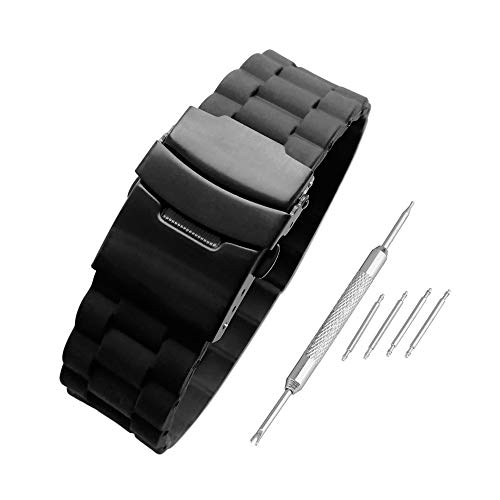 Beauty7 Black 22mm Soft Link-Alike Textured Silicone Rubber Watch Band Straps Replacement Bracelet Double-Lock Deployment Clasp ()