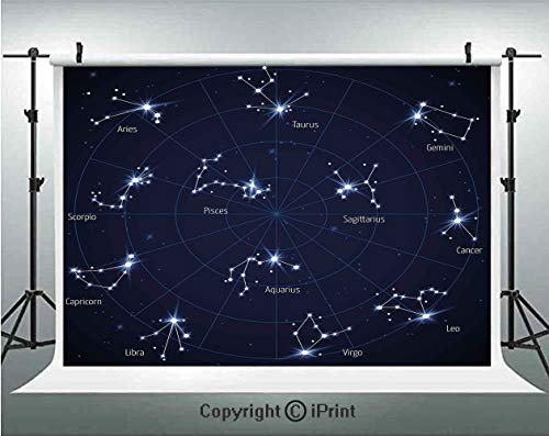 Constellation Photography Backdrops Sky Star Map with Geometric Circle Space Night Horoscopes Chart Dark,Birthday Party Background Customized Microfiber Photo Studio Props,10x6.5ft,Dark Blue White ()
