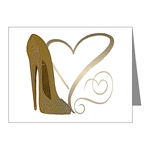 CafePress - Vintage Stiletto Shoe Hearts - Blank Note Cards (Pack of 20) Glossy