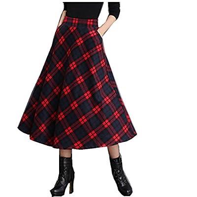 Taiduosheng Women's Wool Maxi Skirt A-Line Pleated Vintage Plaid Winter Swing Skirts
