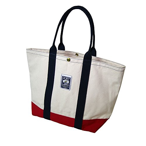 Handmade Heavy Duty Canvas Clipper Tote Bag By PORT CANVAS - Canvas, One At A Time in Maine, USA (Beige) made in New England