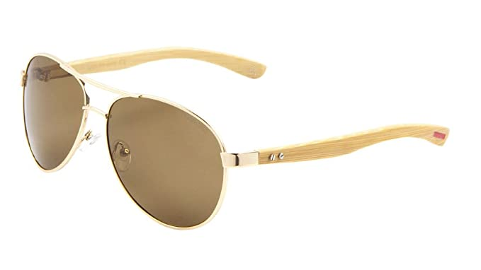 14a93df7d4 Image Unavailable. Image not available for. Colour  EKO Wood Aviator  Sunglasses Polarized Lens ...