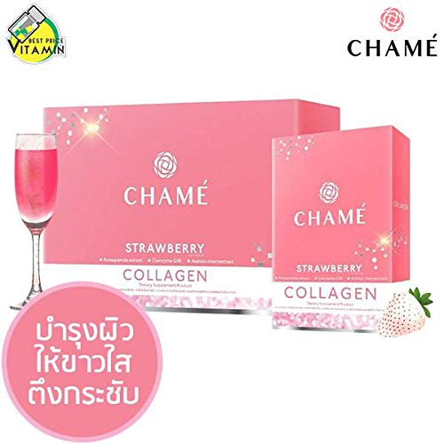 CHAME Premium Collagen White Strawberry Helps Skin Smooth, Anti-Aging Drink Mix 1 Box = 10 Sachets Free-Shipping