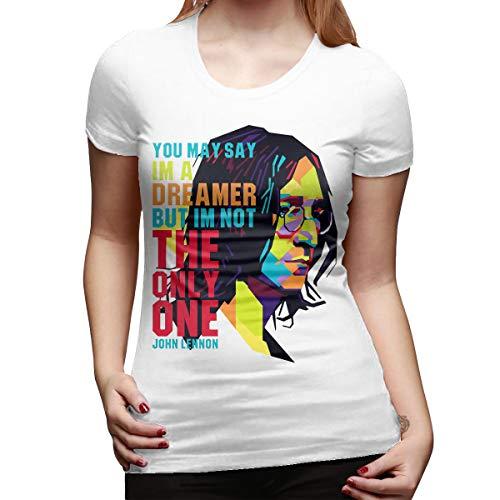 Boaioaew Women's John Lennon Imagine Short Sleeve T-Shirt White XL ()