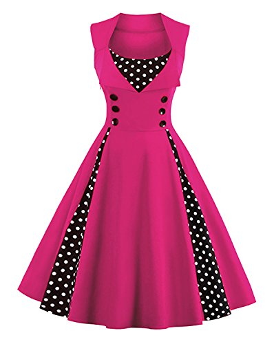 Killreal Women's Elegant Sleeveless Polka Dot Print Rockabilly Vintage Bridesmaid Dress Hot Pink X-Large