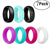 Cheap Silicone Wedding Ring, Ubearkk Silicone Wedding Band 7 Pack for Men and Women Esigned for Comfort, Fitness, Exercise, Weight Lifting/Training, Running, Rubber Rings Band (Size 9)
