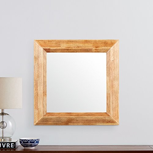 Stone & Beam Square Rustic Wood Frame Mirror, 25.75'' H, Natural by Stone & Beam (Image #1)