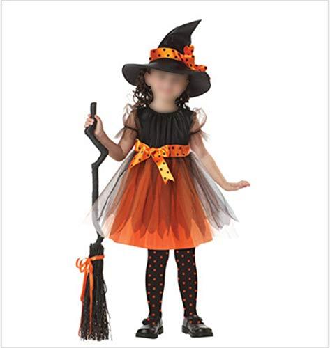 Children's Halloween Costume Cosplay Performance Costume Witch Plus Cloak Broom(Yellow-Short,4XL)