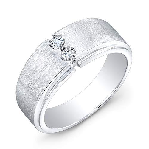 (Men's Platinum Round Diamond half bezel wedding band 0.20 ctw )