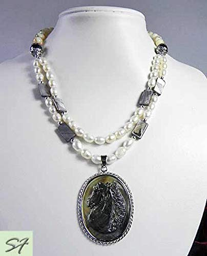Carved cameo Horse pendant with freshwater pearls necklace