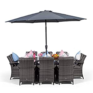 Arizona Rattan Dining Set | Rectangle 8 Seater Grey Rattan Dining Set | Outdoor Poly Rattan Garden Table & Chairs Set | Patio Conservatory Wicker Garden Dining Furniture with Parasol & Cover