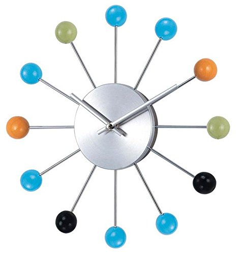 Telechron Atomic Ball Wall Clock, Multi/Silver