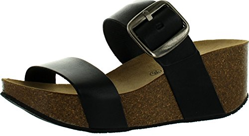 Eric Michael Womens Izzy Double Strap Fashion Sandals Black 4eT5Ms5VIy