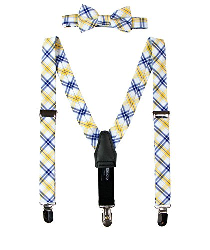 Spring Notion Baby Boys' Cotton Suspender and Bow Tie Gift Set Yellow-Blue Small (Toddler Blue Tuxedo)
