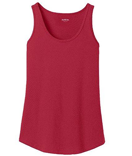 Dark Red Ladies Tank Top (Clothe Co. Ladies 100% Cotton Super Soft Tank Top, Red, 2XL)