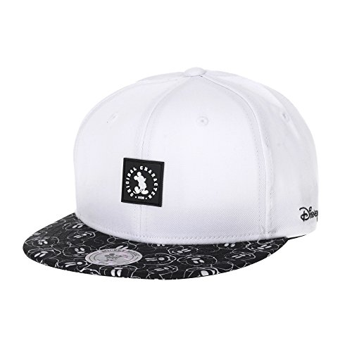 - WITHMOONS Disney Mickey Mouse Rubber Patch Snapback Baseball Cap CR2750 (White)