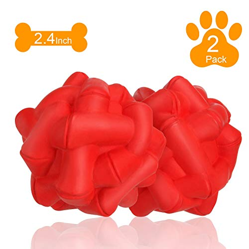 WingPet Durable Dog Balls Chew Toys, Natural Rubber bounce Balls, Great for Outdoors Training or Fetch Game, 2.4 Inch, Pack of - Balls Soft Toy Dog Chew