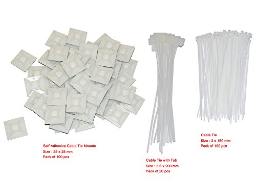 Self Adhesive Cable Tie Mounts 28mm x 28mm (Pack of 100) + 100 PCS 3*150mm Cable Tie + 20 PCS 3.6*200mm Cable Tie with Tab (Adhesive Cables Self)