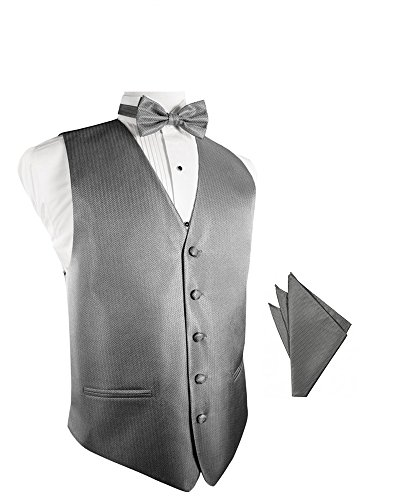 Silver Herringbone Tuxedo Vest with Bowtie & Pocket Square Set ()