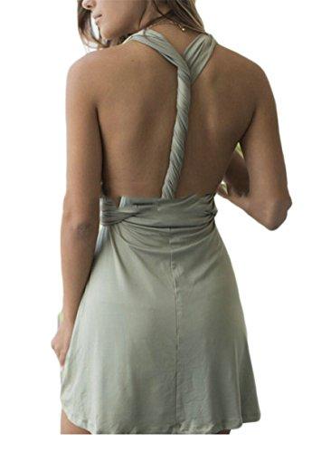 Halter Lace Sleeveless Neck Jaycargogo Women Party Sexy Mini 1 V Dress up Neck xgIqEq