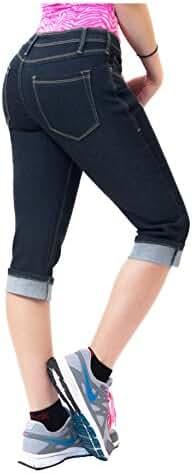 HyBrid & Company Women's Perfectly Shaping Stretchy Curvy Denim Plus Size Capri