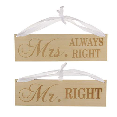 - 2pcs Mr Right Mrs Always Right Wood Sign Chair Decor Wedding Party Decor