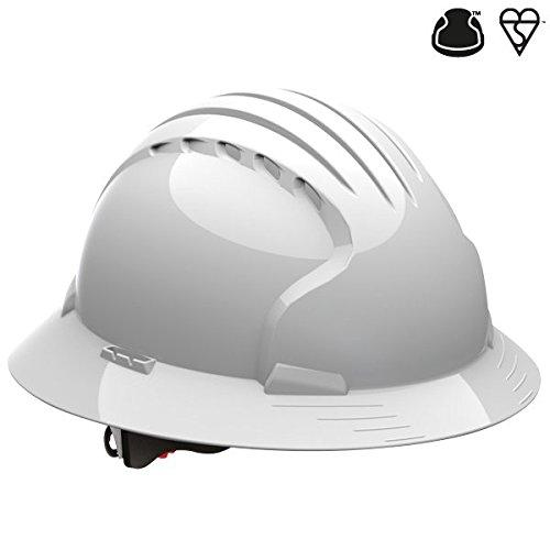 Casco de construcción en color blanco Evo 6100 de borde completo, para internacional, industrial, aceite, gas, construcción, ajuste de trinquete con volante ...