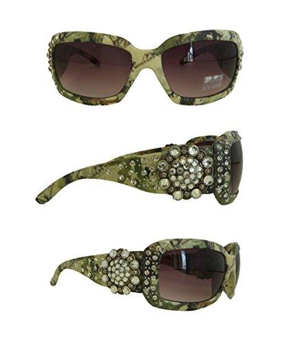 Montana West UV400 Sunglasses Camouflage Print Floral Concho, Green - Camo Sunglasses Wholesale