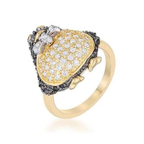 - WildKlass Jet Black Cubic Zirconia Penguin Fashion Ring