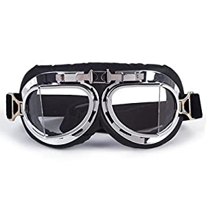 FIRSTLIKE 3-5 Days Delivery, Steampunk Goth Style Aviator Unisex UV Goggles - Chrome Plated Frame Clear Lens